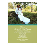 Simple Green Photo Wedding Reception Only Invites
