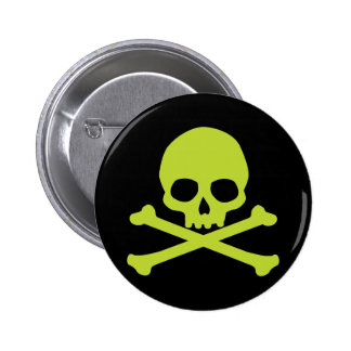Simple Green Skull and Crossbones Button
