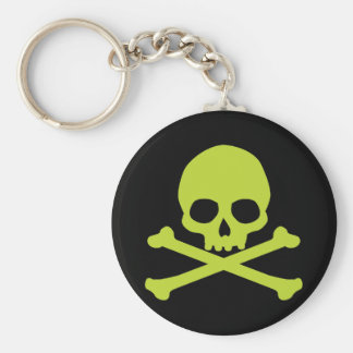 Simple Green Skull and Crossbones Keychains