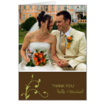 Simple green sprig custom photo brown thank you greeting card