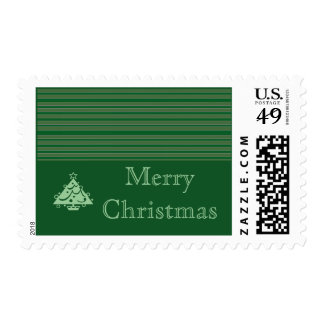 Simple Green Stripe Christmas Postage