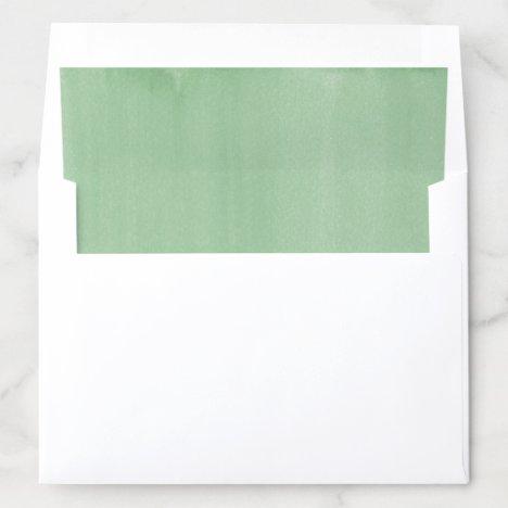 Simple Green Watercolor Wash Wedding Envelope Liner