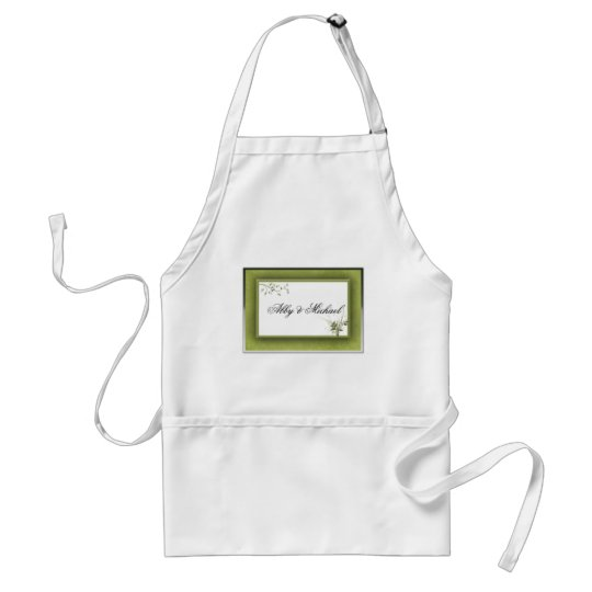 Simple Green Wedding Floral Adult Apron