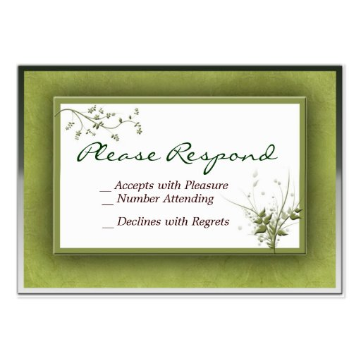 Simple Green Wedding Floral RSVP - Customized Business Card Template
