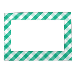 Simple Green white St Patrick gingham pattern Magnetic Frame