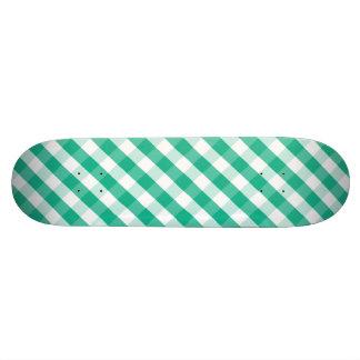 Simple Green white St Patrick gingham pattern Skateboard Deck