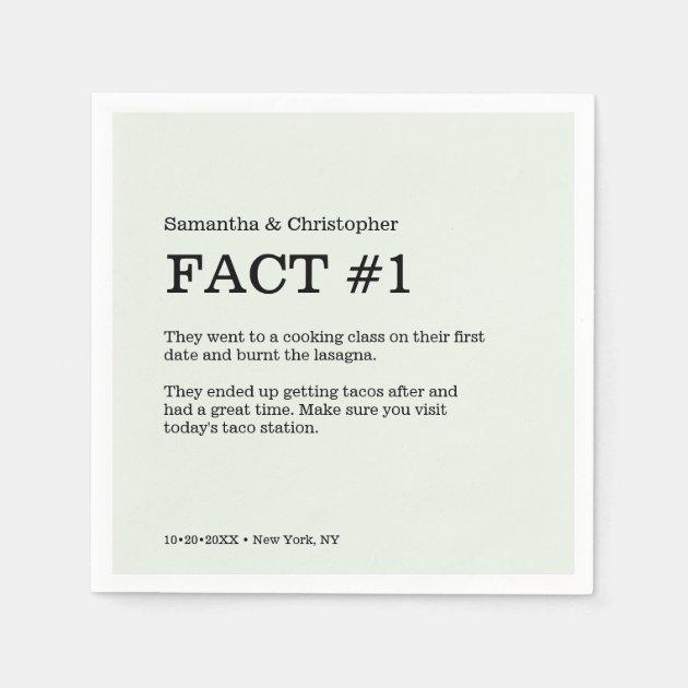 Simple Green White Wedding Fact Napkins Zazzle Com