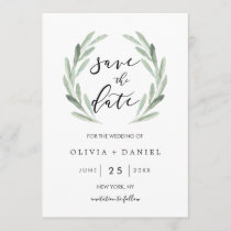 Simple Green Wreath Rustic Wedding Save the Date