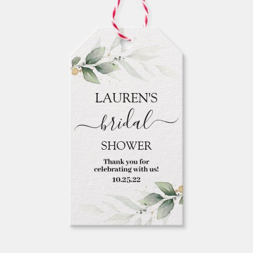 Simple greenery bridal shower gift tags