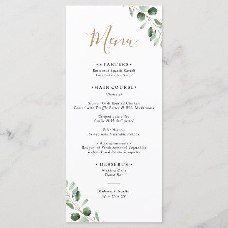 Simple Greenery Eucalyptus Elegant Wedding Menu