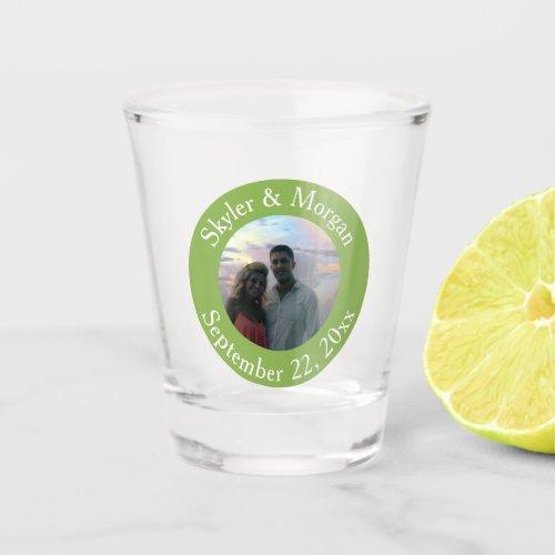 Simple Greenery Green Round Wedding Photo Shot Glass