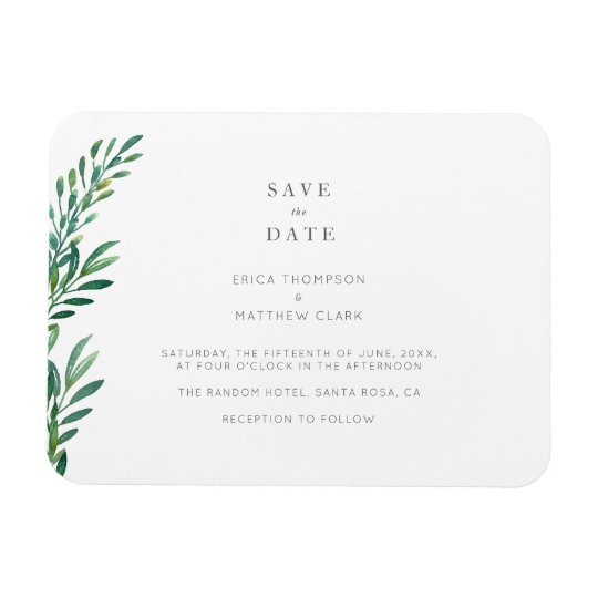 simple greenery wedding save the date magnet zazzle com