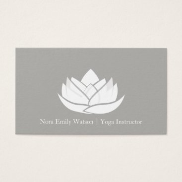 Professional Business Simple Grey and White Lotus Flower Business Card