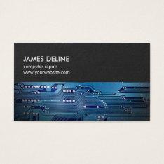 Simple Grey Blue Circuit Board Computer Repair Business Card at Zazzle