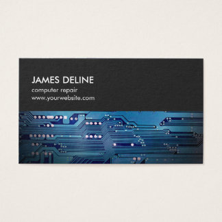 Simple Grey Blue Circuit Board Computer Repair Business Card