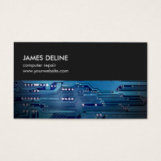 Simple Grey Blue Circuit Board Computer Repair Business Card at Zazzle