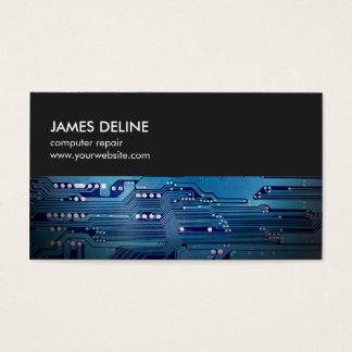 Simple Grey Blue Circuit Board Computer Repair Business Card