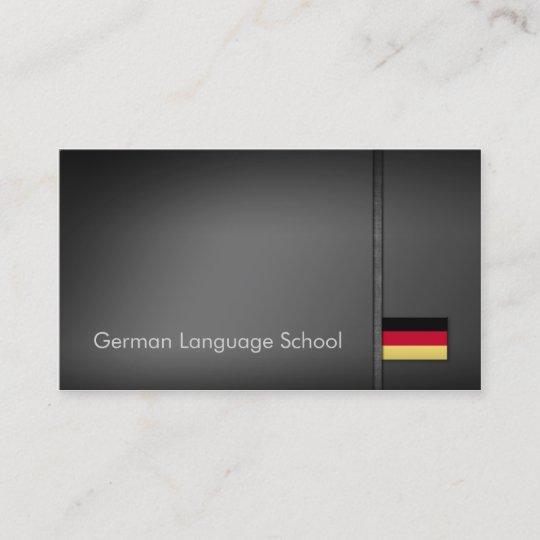 Simple Grey German Language School Business Card Zazzle