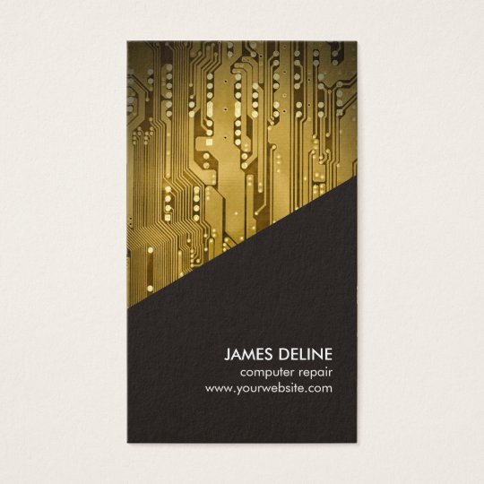 Circuit board business cards zazzle wire data simple grey gold circuit board computer repair business card rh zazzle com circuit board banner fun shaped business cards colourmoves