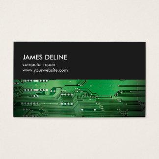 Simple Grey Green Circuit Board Computer Repair Business Card