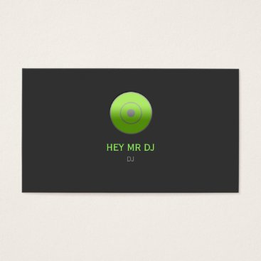 Professional Business Simple Grey & Green DJ Business Card