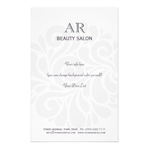 Simple grey hair stylist beauty salon price list flyer for Salon simple