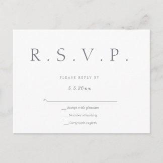 Simple grey lettering wedding rsvp postcards