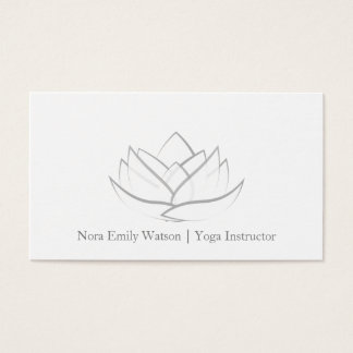 Simple Grey Lotus Flower Business Card
