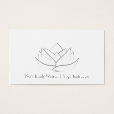 Professional Business Simple Grey Lotus Flower Business Card