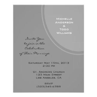 """Simple Grey Modern Wedding 4.5"""" X 5.6"""" Flyer"""