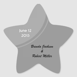 Simple Grey Modern Wedding Star Sticker