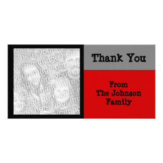 simple grey red personalized photo card