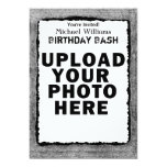 Simple grey ripped paper frame invitation template