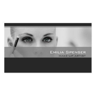 Simple Grey Tones Make-up Artist Profile Card Business Card