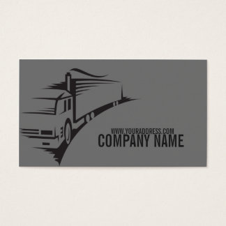 Simple Grey Trailer Truck Business Card
