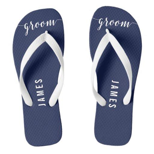 Simple Groom Navy Blue Wedding Party Flip Flops