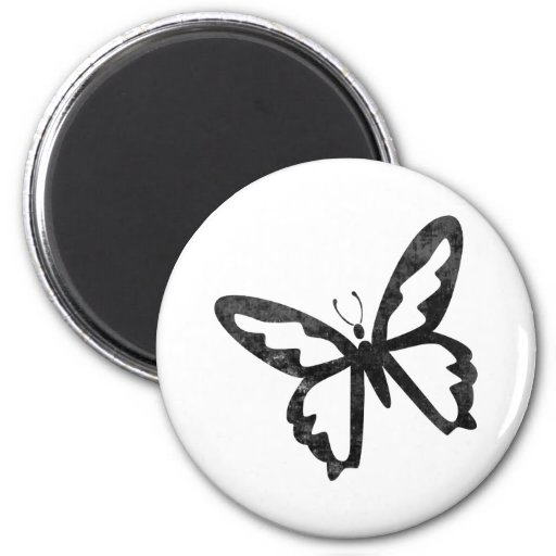 Simple Grungy Black Butterfly 2 Inch Round Magnet