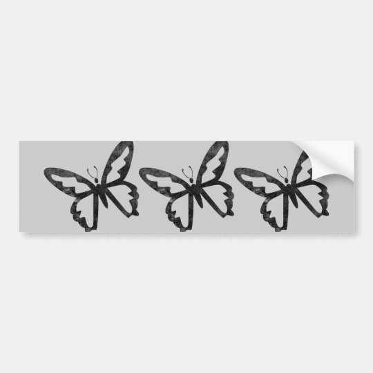 Simple Grungy Black Butterfly Bumper Sticker