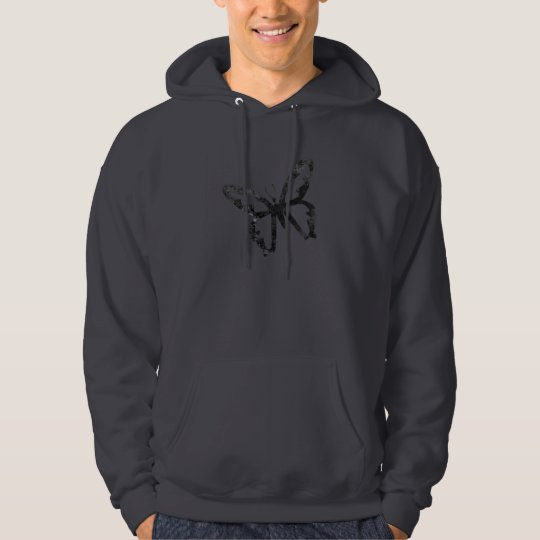 Simple Grungy Black Butterfly Hoodie
