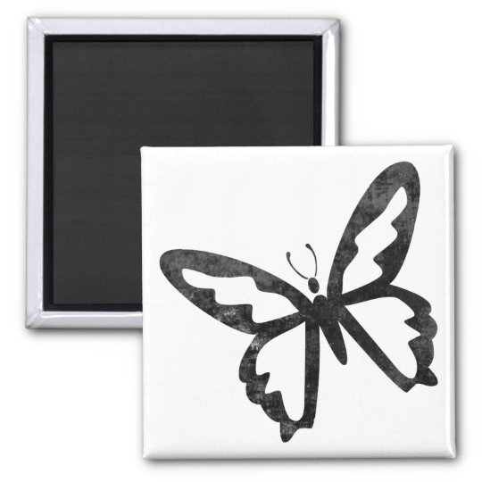 Simple Grungy Black Butterfly Magnet