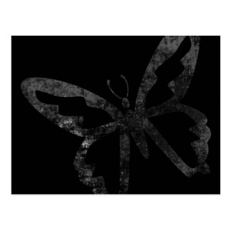 Simple Grungy Black Butterfly Postcard
