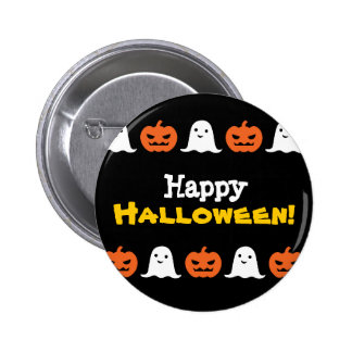 Simple Halloween Pumpkin and Ghost Button
