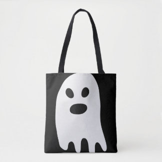 Simple Halloween White Ghost Tote Bag