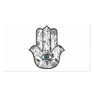 Simple Hand Drawn Floral Hamsa Hand Double-Sided Standard Business Cards (Pack Of 100)