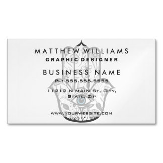 Simple Hand Drawn Floral Hamsa Hand Magnetic Business Cards (Pack Of 25)