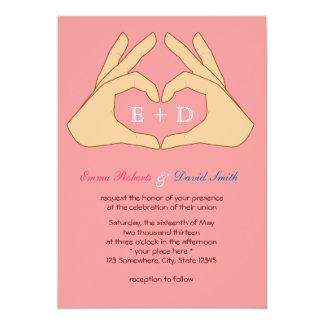 Simple Hand Heart Pink Wedding Invitations