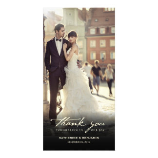 Simple Handwrite Script Classy Wedding Thank You Photo Card