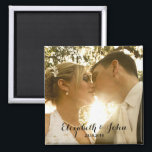 """Simple Handwriting Wedding Photo Magnet<br><div class=""""desc"""">Easily replace the template sample photo with your own wedding photo to make personalized wedding favor or keepsake</div>"""
