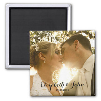 Simple Handwriting Wedding Photo Magnet
