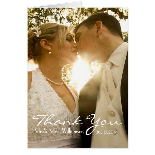 simple handwriting wedding photo thank you card zazzle